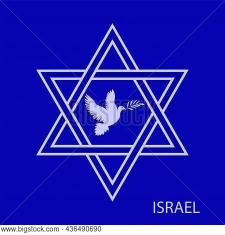 Star Of David, Dove With Laurel Branch - Vector. Israel. Hanukkah, Sukkot, Rosh Hashanah, Yom Kippur