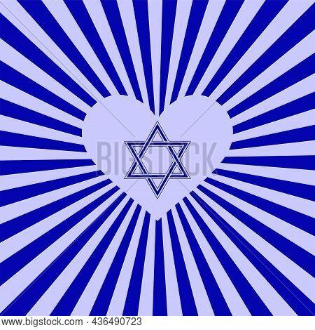Star Of David, Heart - Radiant Blue Background - Vector. Israel. Hanukkah, Sukkot, Rosh Hashanah, Yo
