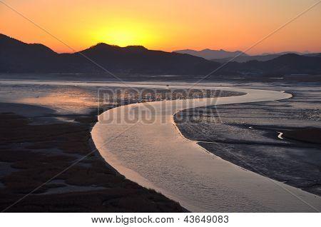 Sunset in Suncheonnam bay