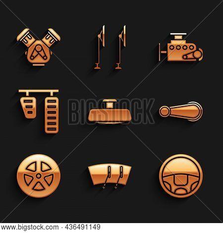 Set Car Mirror, Windscreen Wiper, Steering Wheel, Door Handle, Gas Brake Pedals, Engine And Icon. Ve