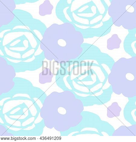 Playful Neon Floral Seamless Vector Background. Colorful Bold Flowers In Retro Silhouette Style. Han