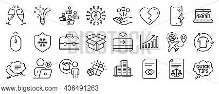 Set Of Business Icons, Such As Teamwork, Broken Heart, Change Clothes Icons. Quick Tips, Gift, Legal