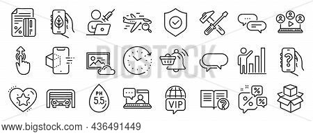 Set Of Technology Icons, Such As Parking Garage, Messenger, Swipe Up Icons. Video Conference, Ph Neu