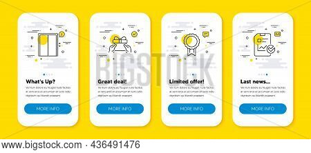 Vector Set Of Lift, Reward And Give Present Line Icons Set. Ui Phone App Screens With Line Icons. Re