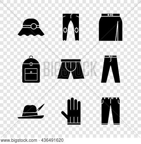 Set Elegant Women Hat, Pants, Skirt, Oktoberfest, Leather Glove, Backpack And Men Underpants Icon. V
