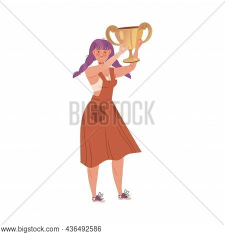 Excited Woman Winner With Purple Braided Hair Holding Cup Award Vector Illustration