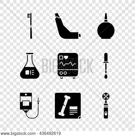 Set Toothbrush, Inhaler, Enema, Iv Bag, X-ray Shots, Electric Toothbrush, Test Tube And Flask And Mo