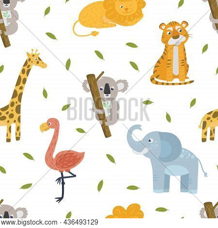 Zoo Animal With Pink Flamingo And Koala On Tree Trunk Vector Seamless Pattern Template