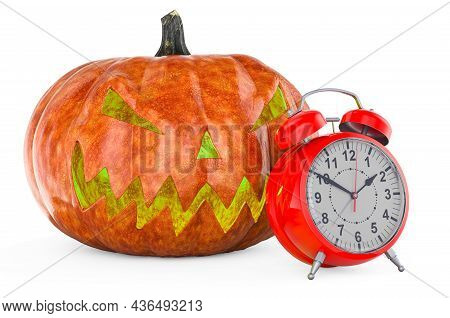 Halloween Pumpkin With Alarmclock, 3d Rendering Isolated On White Background
