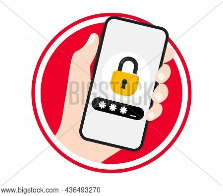 Hand Holding Smartphone With Lock Screen. Phone With Enter Password Code Verification Security Prote
