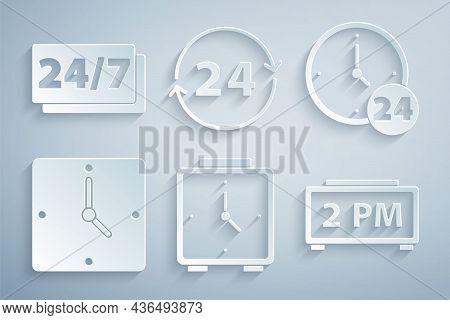 Set Alarm Clock, Clock 24 Hours, Digital Alarm, And Icon. Vector