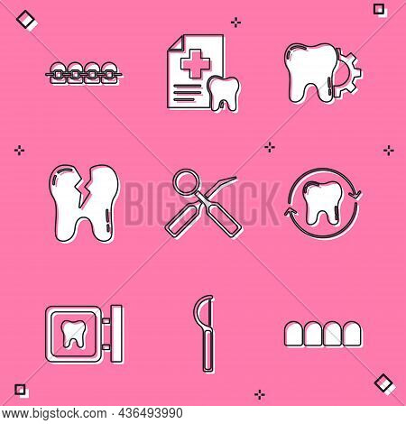 Set Teeth With Braces, Dental Card, Tooth Treatment Procedure, Broken Tooth, Inspection Mirror, Whit
