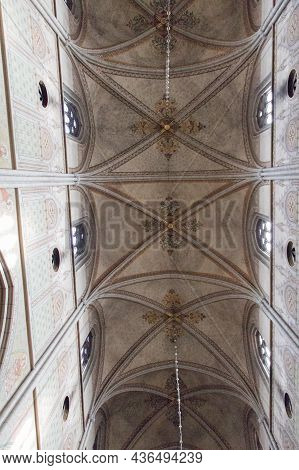 Sweden, Uppsala - April 19 2019: Interior View Of Uppsala Cathedral, Vaulted Ceiling Of The Church O