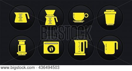 Set Aeropress Coffee, Coffee Cup To Go, Bag Beans, Electric Kettle, Pour Over Maker, Pot And Icon. V