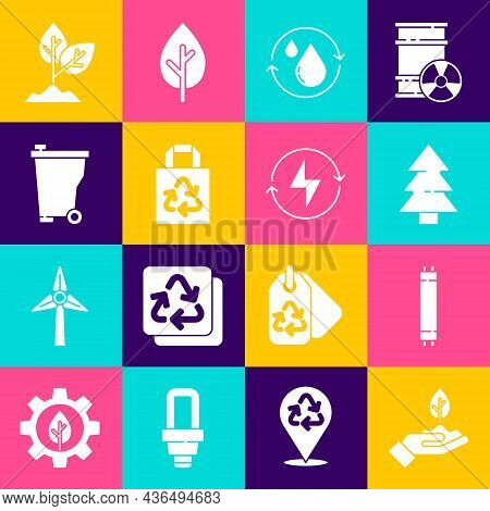 Set Plant In Hand, Fluorescent Lamp, Christmas Tree, Recycle Clean Aqua, Paper Bag With Recycle, Tra