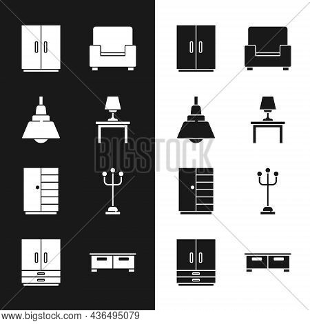 Set Table Lamp On Table, Chandelier, Wardrobe, Armchair, Coat Stand, Chest Of Drawers And Icon. Vect
