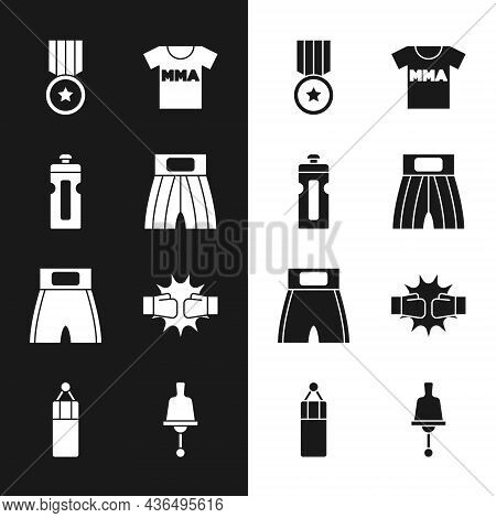 Set Boxing Short, Fitness Shaker, Medal, T-shirt With Fight Club Mma, Punch Boxing Gloves, Ringing B
