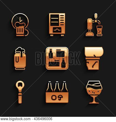 Set Beer Menu, Pack Of Beer Bottles, Glass, Belly, Bottle Opener, Can With Foam, Tap Glass And Happy