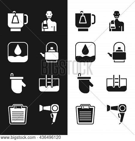 Set Kettle With Handle, Water Drop, Cup Of Tea Tea Bag, Man In The Sauna, Sauna Mittens, Swimming Po