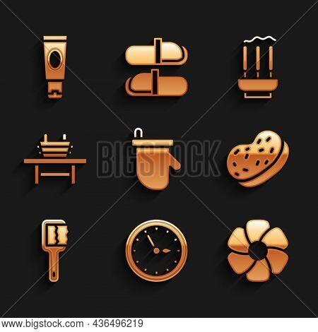 Set Sauna Mittens, Clock, Flower, Bath Sponge, Brush, Bench With Bucket, Incense Sticks And Cream Or