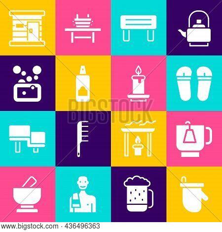 Set Sauna Mittens, Cup Of Tea With Tea Bag, Flip Flops, Wood Bench, Spray Can For Hairspray, Bar Soa