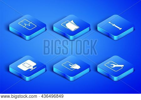 Set Mobile Service, Phone Repair, Glass Screen Protector And Screwdriver Icon. Vector