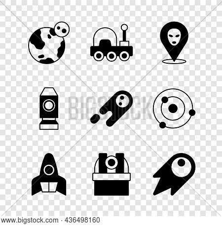Set Earth Globe, Mars Rover, Alien, Rocket Ship, Astronomical Observatory, Comet Falling Down Fast,