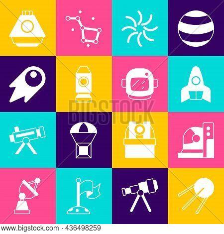 Set Satellite, Astronaut Helmet, Rocket Ship, Black Hole, Comet Falling Down Fast, Space Capsule And