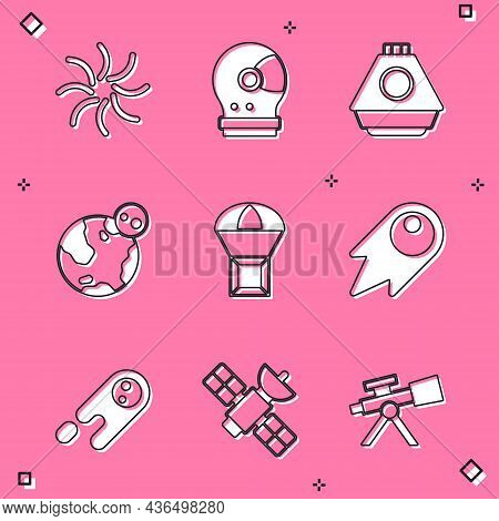 Set Black Hole, Astronaut Helmet, Space Capsule, Earth Globe, Box Flying Parachute, Comet Falling Do