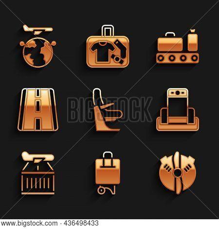 Set Airplane Seat, Suitcase, Plane Propeller, Metal Detector In Airport, Airport Runway, Conveyor Be