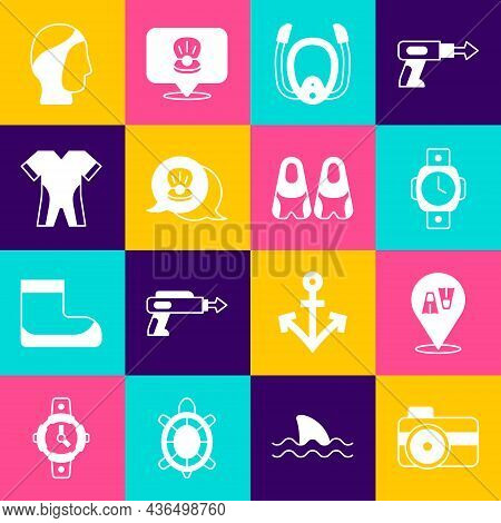 Set Photo Camera For Diver, Flippers Swimming, Diving Watch, Mask With Snorkel, Scallop Sea Shell, W