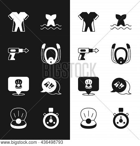 Set Diving Mask With Snorkel, Fishing Harpoon, Wetsuit For Scuba Diving, Whale Tail, Scallop Sea She