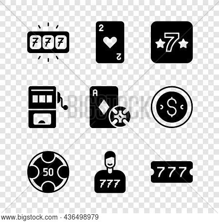 Set Slot Machine With Jackpot, Playing Card Heart, Casino Slot, Chips, Lucky Player, Lottery Ticket,