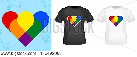 Lgbt Colors Heart For T-shirt Stamp, Tee Print, Applique, Badge, Label Clothing, Or Other Printing P
