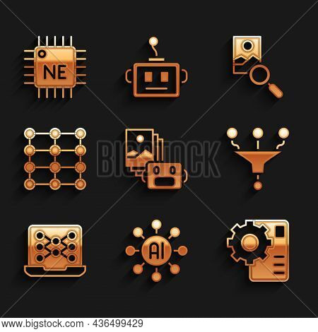 Set Artificial Intelligence Robot, Neural Network, Funnel Filter, Photo Retouching And Processor Cpu