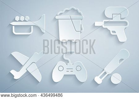 Set Gamepad, Water Gun, Toy Plane, Baseball Bat With Ball, Sand In Bucket And Trumpet Icon. Vector