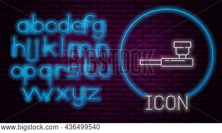 Glowing Neon Line Smoking Pipe With Smoke Icon Isolated On Brick Wall Background. Tobacco Pipe. Neon