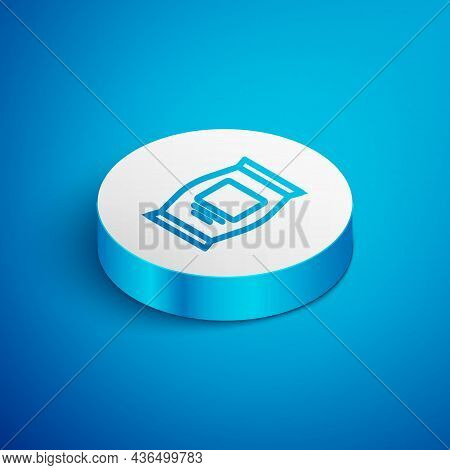 Isometric Line Fertilizer Bag Icon Isolated On Blue Background. White Circle Button. Vector