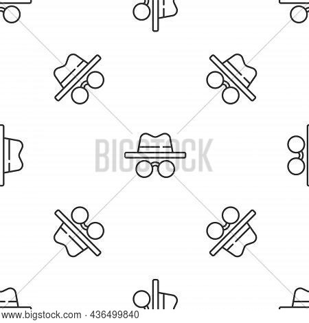 Grey Line Incognito Mode Icon Isolated Seamless Pattern On White Background. Vector