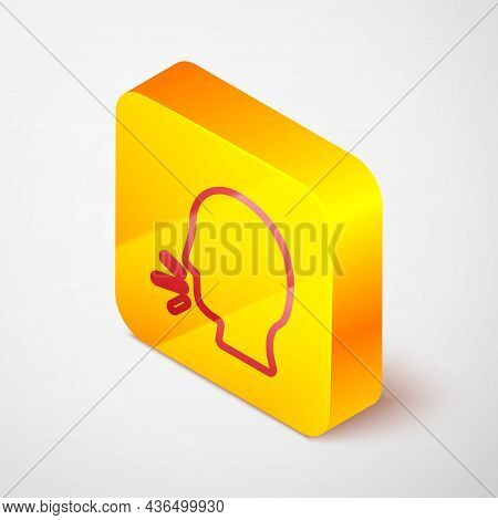 Isometric Line Man Coughing Icon Isolated On Grey Background. Viral Infection, Influenza, Flu, Cold