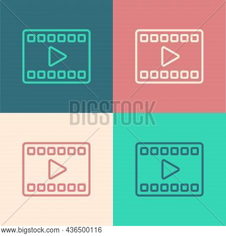 Pop Art Line Play Video Icon Isolated On Color Background. Film Strip With Play Sign. Vector