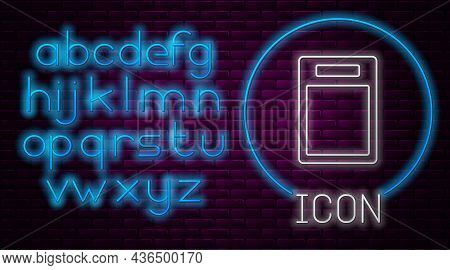 Glowing Neon Line Cutting Board Icon Isolated On Brick Wall Background. Chopping Board Symbol. Neon