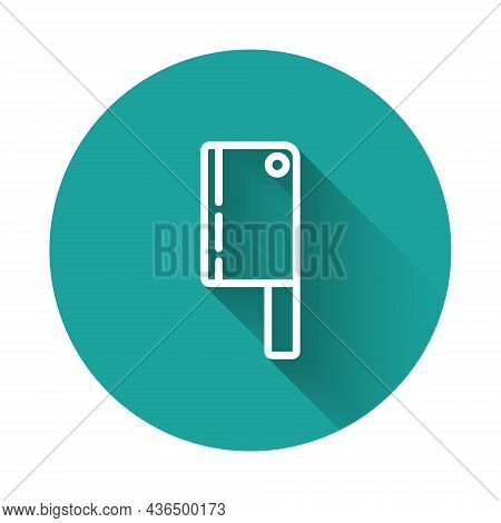 White Line Meat Chopper Icon Isolated With Long Shadow. Kitchen Knife For Meat. Butcher Knife. Happy