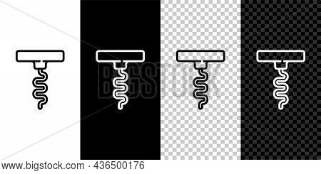 Set Line Wine Corkscrew Icon Isolated On Black And White Background. Vector