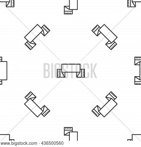 Grey Line Traditional Ukrainian Embroidered Towel Icon Isolated Seamless Pattern On White Background