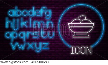 Glowing Neon Line Varenyky In A Bowl Icon Isolated On Brick Wall Background. Pierogi, Varenyky, Dump