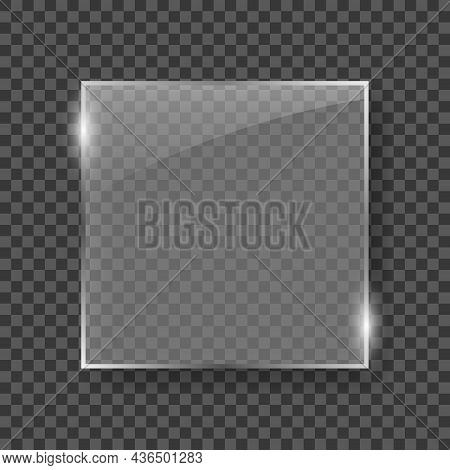 Realistic Glass Plate On Transparent Background. Silver Square Frame Glass For Decoration And Coveri