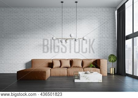 New Living Room Interior With Big Couch, Other Pieces Of Furniture, Curtain, Window With Daylight An