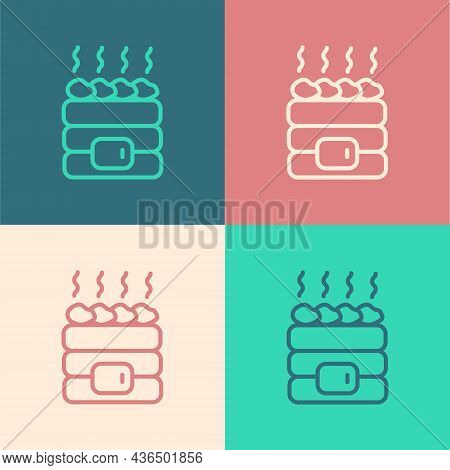 Pop Art Line Hot Sauna Stones Icon Isolated On Color Background. Spa Resort Recreation, Bathhouse Re