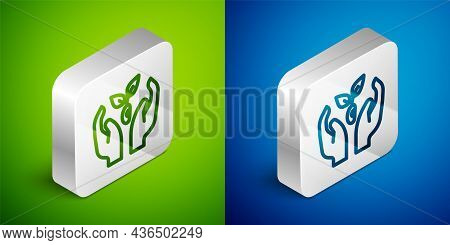 Isometric Line Plant In Hand Of Environmental Protection Icon Isolated On Green And Blue Background.